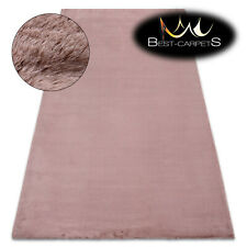 MODERN thick, soft in touch RUG 'BUNNY' pink Rabbit fur imitation bellarosa