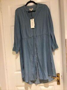 Selected Femme Blue Denim Style Dress Sz 38 Bnwt