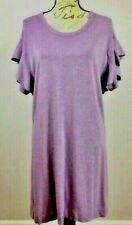 Loft Lounge womens purple knit size M dress gown ruffle short sleeve casual Nwt
