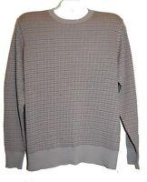 Joseph Abboud Gray Light Brown Striped Cotton Soft Shirt Men's Sweater Size L