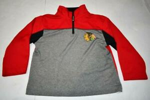 Youth Chicago Blackhawks XS (4/5) 1/4 Zip Pullover Jacket (Red/Gray) NHL