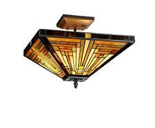 """Stained Glass Chloe Lighting Mission 2 Light Semi Flush Fixture 14"""" Shade New"""