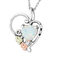 Black Hills Gold heart opal pendant womens .925 sterling silver synthetic opal