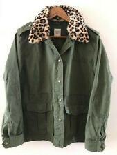 76b17fc4ac96 GAP Utility Green Military Jacket with Faux Leopard Collar LARGE NWOT