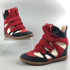 Women's Ladies Bekket Red Blue Hi-Top Suede Sneakers Shoes Boots Size 245mm UK5