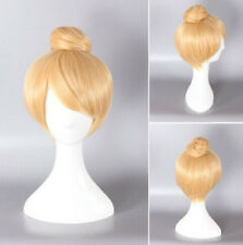 Hot Style Disney Tinker Bell Blonde Cosplay Women Hear Resistant Full Hair Wig