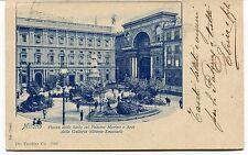 1901 Milano Piazza della Scala col Palazzo Marino Arco Galleria FP B/N VG ANIM
