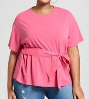NWT AVA & VIV Womens Plus Short-sleeved top/T-Shirt with tie-Pink 3X
