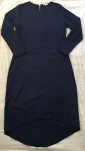 BOHEMIAN TRADERS Cotton Blend Stretchy Textured L/S Midi Dress in Navy, S/12-14