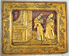 Chinese Gilt Wood Carving Panel Good Relief People Old Wax Seal on Back 14 of 15