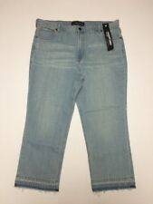 Express Jeans Straight Crop Size 18 Inseam 26 High Rise Raw Edge Hem NWT $69.90