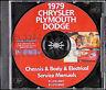 1979 Chrysler Plymouth Shop Manual CD Newport New Yorker Cordoba LeBaron Volare
