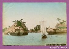 JAPON,TIRAGE ALBUMINÉ AQUARELLÉ ,1880, ISLAND SEA, MER, EMBARCATION, BATEAU-G5