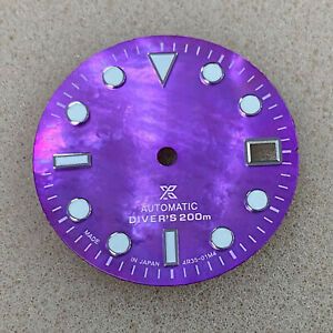 Purple Shell Modified Watch Dial 29mm Green Luminous Dial for NH35 Movement