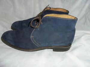 RUSSELL & BROMLEY MEN BLUE SUEDE LEATHER LACE UP ANKLE BOOT SIZE UK 9 EU 43 VGC
