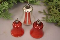Christbaumschmuck Glocken antik Set Anhänger rot silber Glas Weihnachten Deko