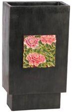 Large Heavyweight Tall Black Flower Vase Floral Design Rectangle Shaped 31 Cm