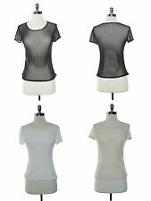 NEW SENSUAL SHEER SEE THRU MICRO MESH SHORT SLEEVE STRETCH T SHIRT TOP S M L