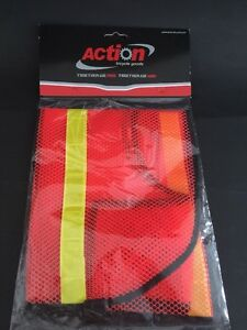 Bicycle Safety Vest Reflective Orange Yellow One Size Fits All Netted Mesh Light