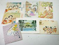 Lot of 7 Vintage Japanese Christmas Holiday Cards Ephemera Scrapbook Some Unused
