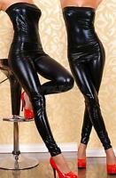 Women PVC Clubwear Wetlook Teddy Bodysuit Jumpsuit Hot Strapless Costume Catsuit