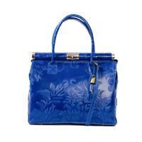 Italian electric blue floral tooled calf leather satchel & handbag