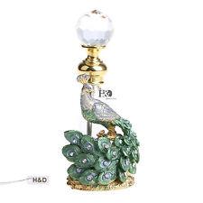 Vintage Empty Peacock Glass Crystal Metal Perfume Bottle Lady Wedding Gift 3.6ml