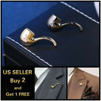 Pipe Men's Brooch Lapel Badge Suit Pin Chest Metal Collar Pin Accessories