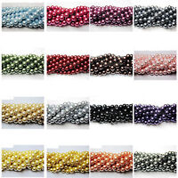 100Pcs Czech Glass Beads Pearl Round Crafts Jewelry Making 4mm 6mm 8mm 10mm