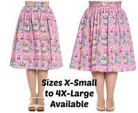 Hell Bunny Maxine Skirt Flamingo Sunset 50s Plus Pinup Pink Bird XS S M L XL 2XL