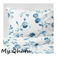 IKEA Blagran Full/Queen Duvet Cover and 2 Pillowcases White Blue Floral New