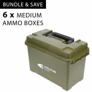 6 x Medium Ammunition Case Weatherproof Ammo Box / Dry Box Olive Drab