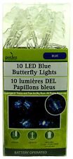 10 LED BLUE BUTTERFLY LIGHTS Battery Operated Indoor Garden Gazebo Decor New I