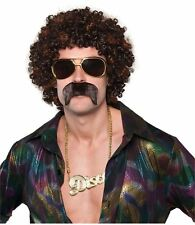 Disco Hound Wig & Moustache Mens 70s Afro Fancy Dress Costume Accessory