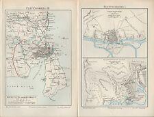 Lithografien Map 1894 festungsbau I-III. fortaleza guerra I-IV. Szczecin pedrería Castillo
