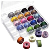 Bobbin Case Organizer with 25 Clear Sewing Machine Bobbins and Assorted Color PV