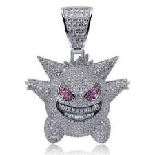 Solid 925 Sterling Silver Round Cut White & Purple CZ Gengar Excellent Pendant