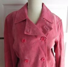 Womens size Large Chadwicks Pink Double Breasted Suede Leather Pea coat jacket