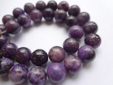 10mm Round Natural Purple Lepidolite Semi Precious Gemstone Beads - Half Strand