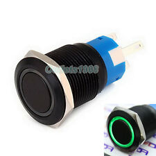 19mm Green LED 12V Black Shell Latching Push Button Switch 1NO 1NC Waterproof