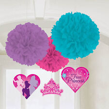 DISNEY PRINCESS FLUFFY DECORATIONS (3) ~ Birthday Party Supplies Cutouts Pink