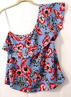 One Shoulder Women's Floral Blue Blouse Top Medium