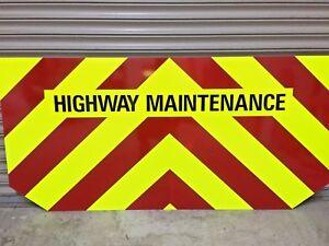 HIGHWAY MAINTENANCE Fluorescent Sticker High-Viz Safety Warning 1200mm x 150mm