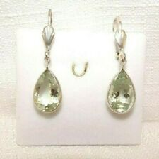 7.98 ct Natural Green Amethyst Sterling Silver Drop Leverback Earrings