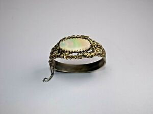 Vintage Whiting and Davis Mother of Pearl Hinged Cuff Bracelet