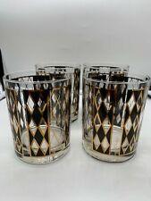Georges Briard Rocks Glasses set of four Black and Gold Vintage Barware