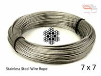 "5/64"" 2mm 7x7 Stainless Steel G316 Cable Wire Rope 32' (10M)"