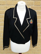 Women's 1980's Vintage Cotton Cropped Jacket Size 12 Badges and Braid Punk/Goth