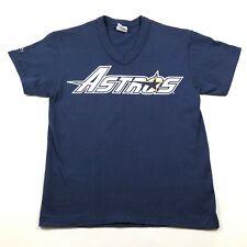 Houston Astros Youth Boys M Blue T Shirt V Neck Large Logo New Single Stitch