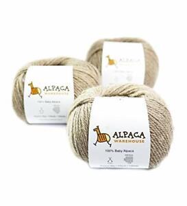 100% Baby Alpaca Yarn Wool Set of 3 Skeins Worsted Weight